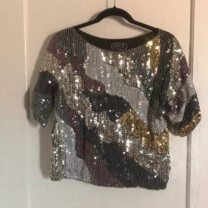 Vintage silk sequin top
